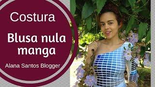 Costurando blusa nula manga com retalho de malha PANTONE AZUL  Alana Santos Blogger