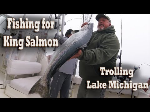 Trolling for King Salmon offshore fishing on Lake Michigan (highlights)