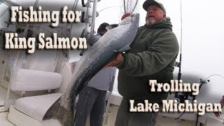 Trolling for King Salmon offshore fishing on Lake Michigan (highlights)