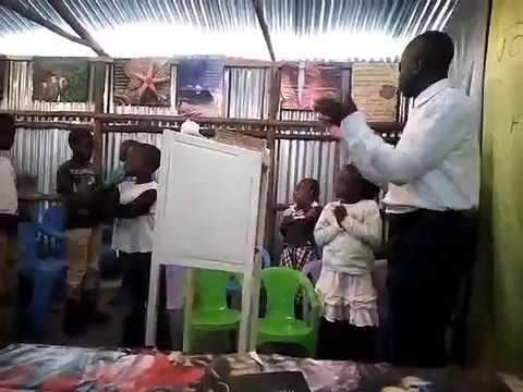 Children Worship led by bro Peter GMFC / WFF Kibera Slum,, Kenya 8 26 2018