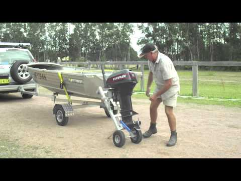 Outboard motor trolley a frame mount boathoist for Outboard motor dolly harbor freight