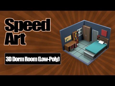 Low-Poly Dorm Room (3D Speed Art)