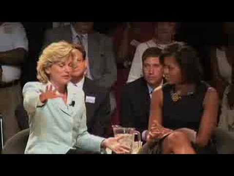 Jennifer Granholm speaking with Michelle Obama