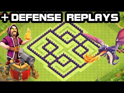 CLASH OF CLANS - TH7 Hybrid BASE + Defense REPLAY 2015 COC Town Hall 7 Defense With Air Sweeper
