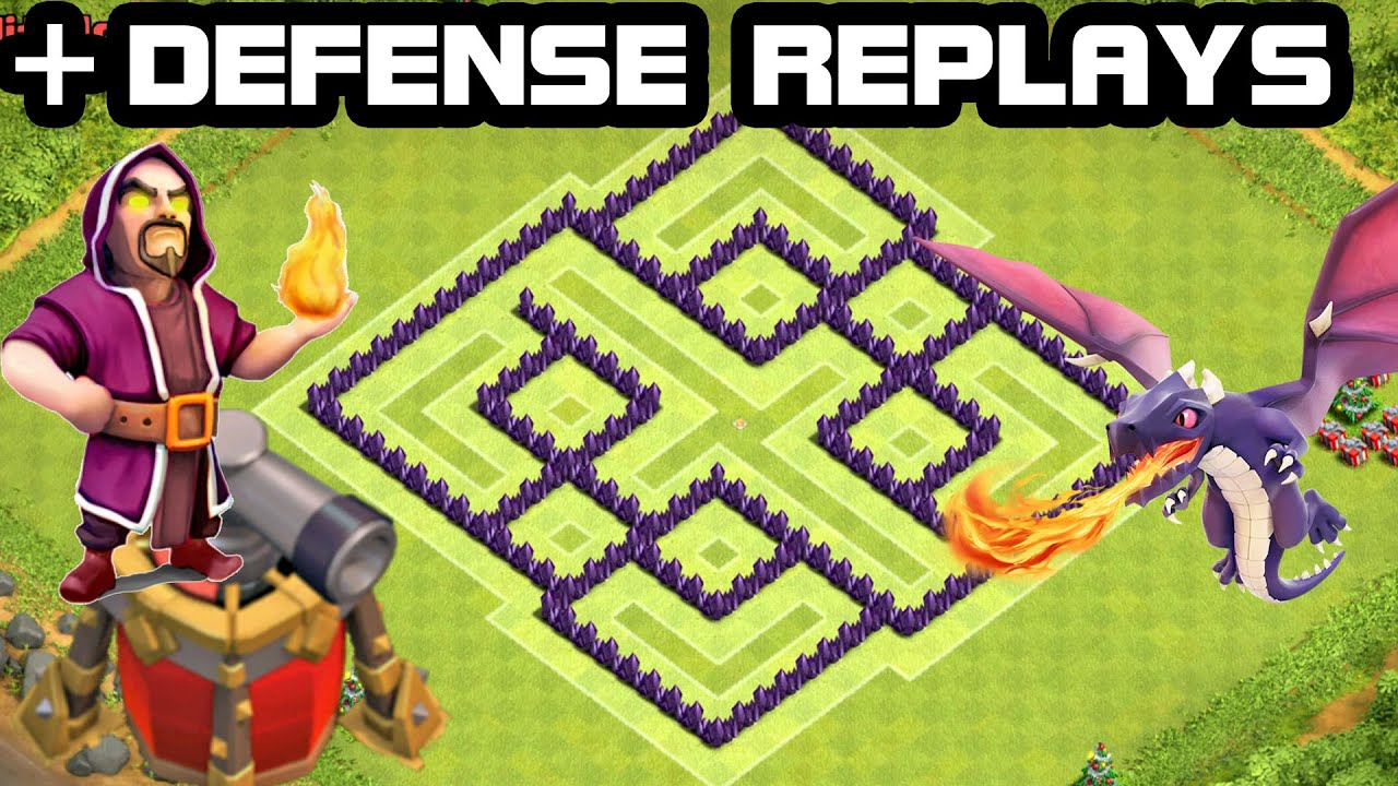 Clash of clans th7 hybrid base defense replay 2015 coc town hall 7