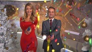Ведущие ОНТ поздравляют с Новым годом: Ирина Ромбальская и Дмитрий Рябов
