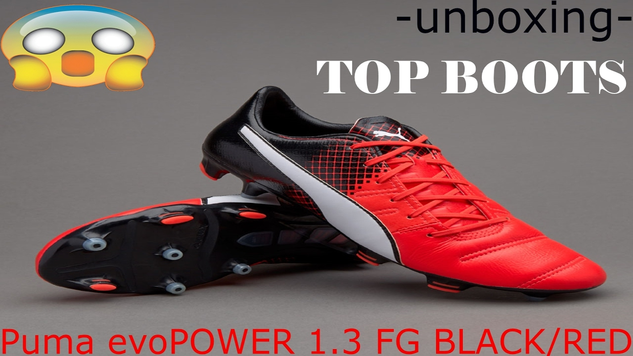 2a4d8d16d UNBOXING PUMA evoPOWER 1.3 FG NEW BOOTS!! GIROUD SET BLACK/RED - YouTube