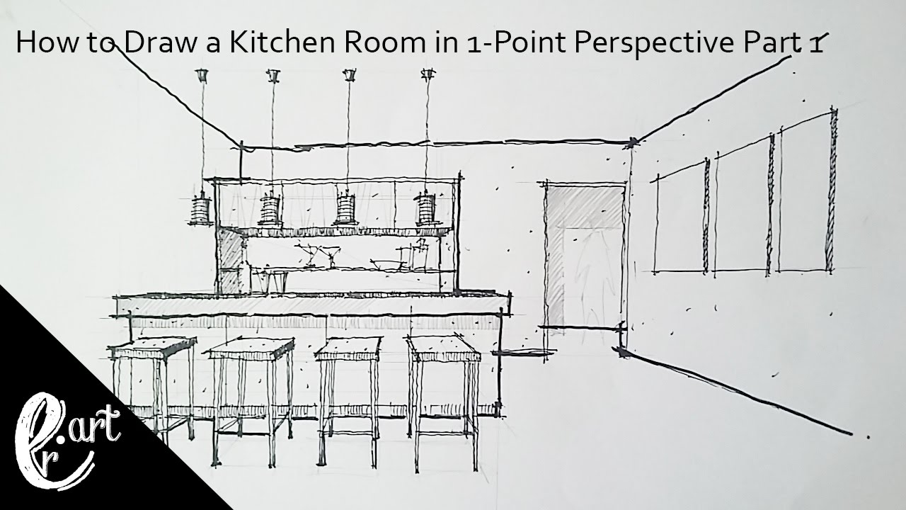 Part 1 how to draw a kitchen room in 1 point perspective