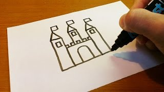 Very Easy !  How to Draw a Castle - art on paper for kids
