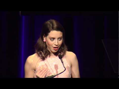 Aubrey Plaza accepts award at 2012 NHMC #ImpactAwards