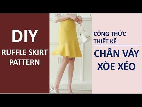 DIY Ruffle Skirt Pattern | Cách Thiết Kế Cắt May Chân Váy Đuôi Cá Xòe Lệch