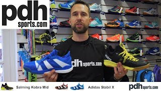 Salming Kobra Mid v Adidas Stabil X indoor court shoe review by PDHSports.com