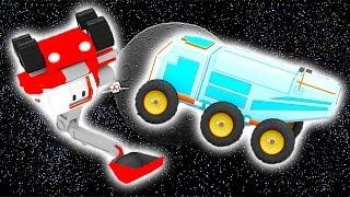 Łazik Księżycowy -  ucz się kolorów z Małymi Samochodzikiami: buldożer, dźwig, koparka