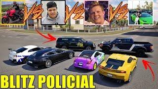 DESTRUIÇÃO POLICIAL COM OS CARROS DOS YOUTUBERS - FORZA HORIZON 3 - GAMEPLAY