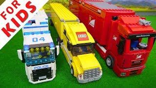 Lego Car toys video for kids . Trucks , Motorbike , Bulldozer
