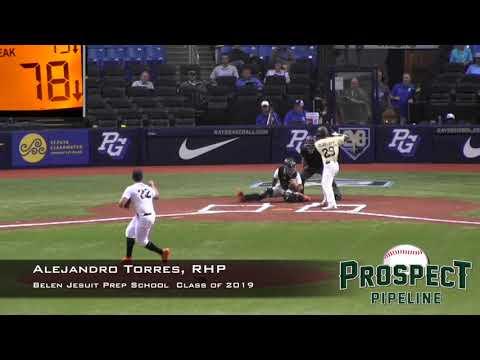 Alejandro Torres Prospect Video, RHP, Belen Jesuit Prep School Class of 2019, CF Cam