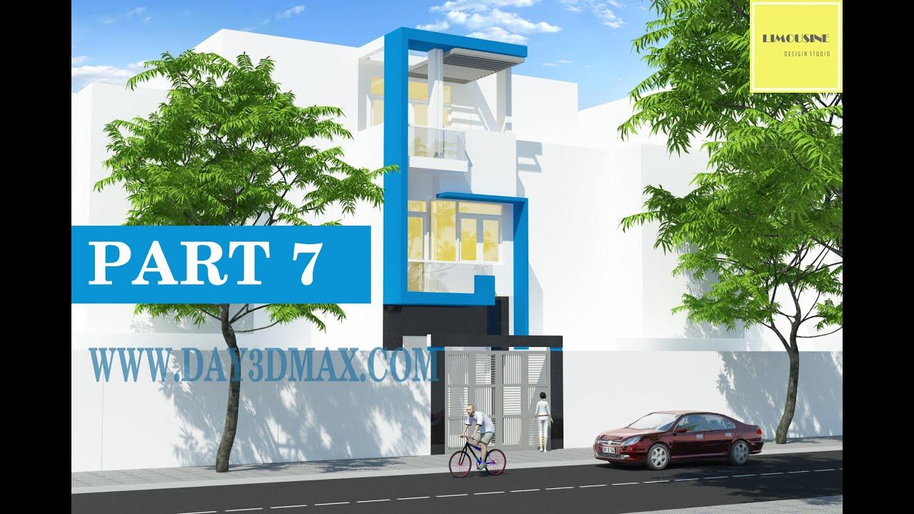 Học 3d sketchup 34 p7 Vẽ phối cảnh ngôi nhà phố learning study 3d draw a perpective of a house