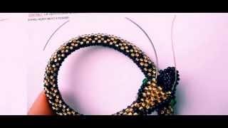 Бисероплетение Браслет из бисера в виде змеи видео урок для начинающих