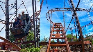 Wild Mouse Roller Coaster That Didn't Kill Us! 4K Front Seat POV Drievliet Amusement Park