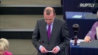 Emmanuel Macron s'exprime sur l'avenir de l'UE devant le Parlement européen
