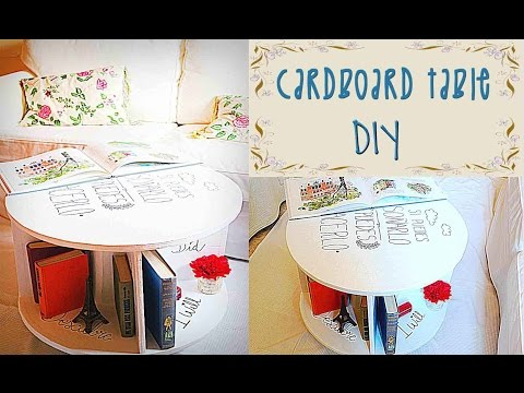 CARDBOARD TABLE TUTORIAL- RECYCLED CRAFTS- DIY - Mery