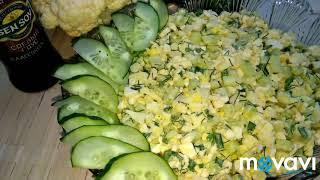 Салат из цветной капусты и огурца