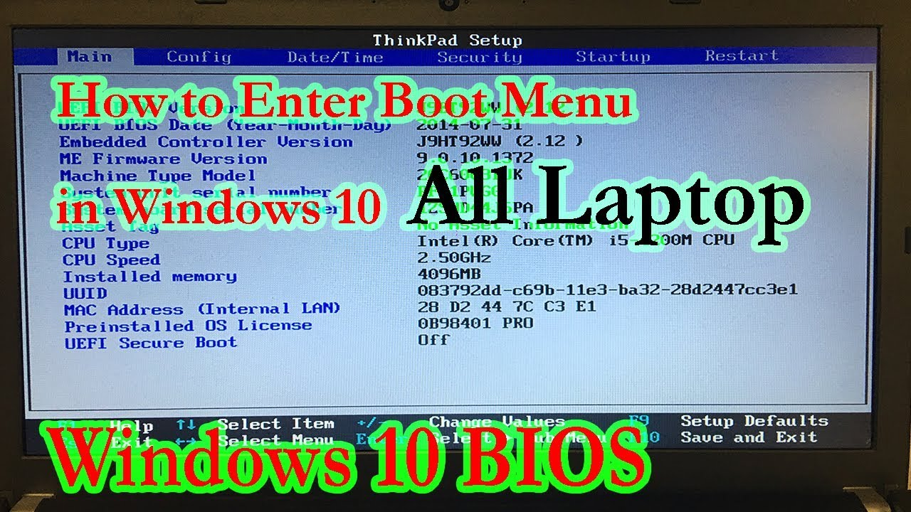 How to get the Boot menu or BIOS on a Windows 10 PC