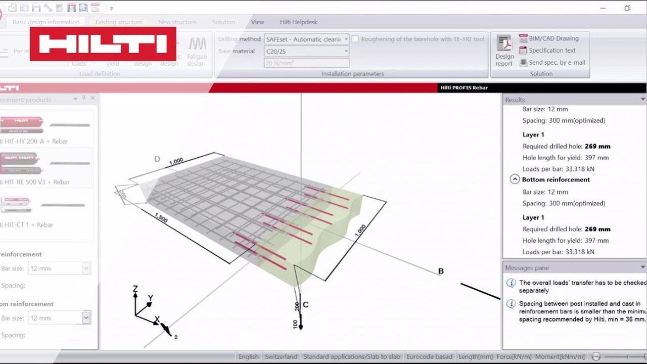 HOW TO create a slab to slab design - Hilti PROFIS Rebar Video Tutorial  Episode 3