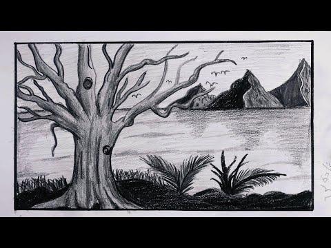 رسم منظر طبيعي بالرصاص سهل جدا للمبتدئين خطوة بخطوة رسم شجره وجبال