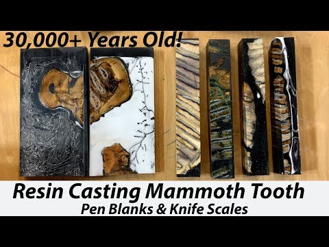 Resin Casting 30,000 Year Old Mammoth Tooth Pen Blanks & Knife Scales