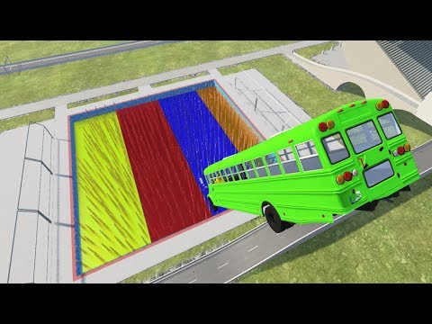 Cars Jumping Into Colored Spikes Pool - BeamNG Drive (car Crashes)