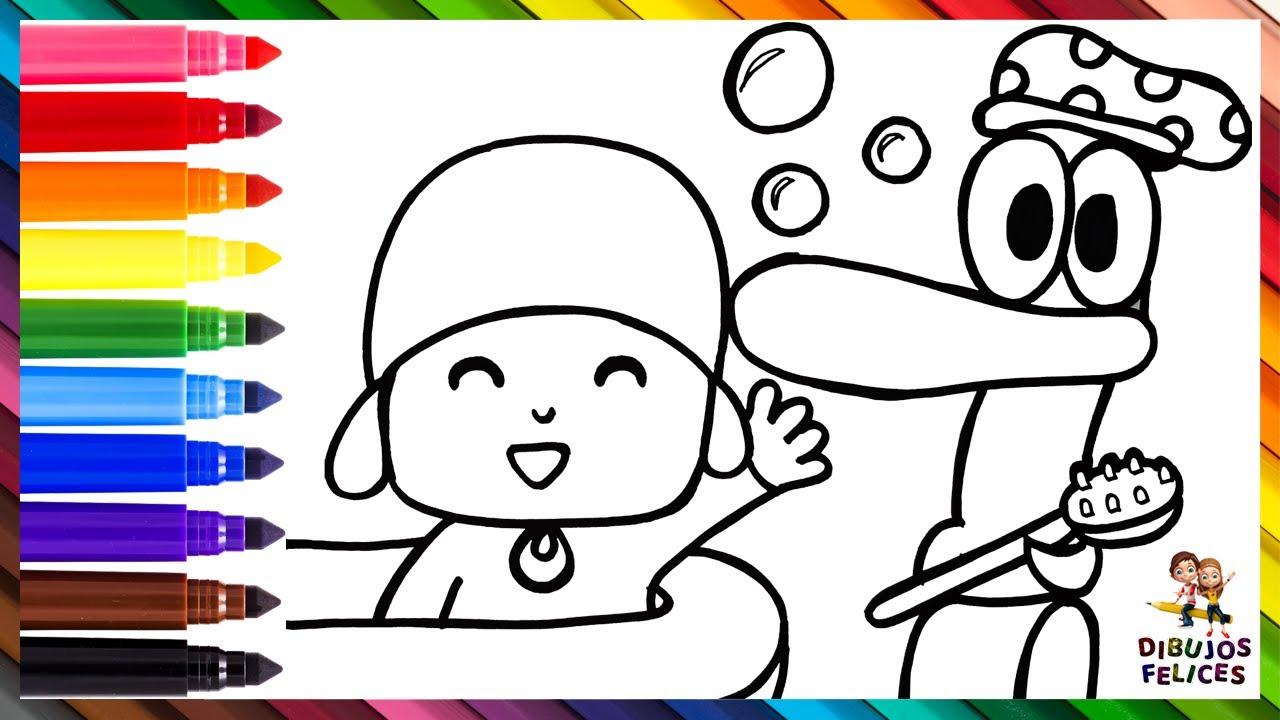 Dibuja y Colorea A Pato Bañando A Pocoyó 👶🛁❤️🦆🧼 Dibujos Para Niños
