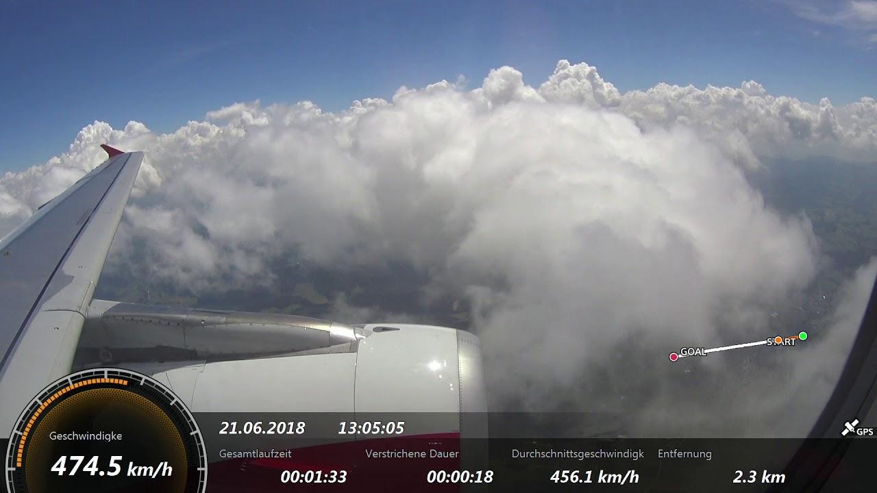 Flug von Wien nach Zürich 21.06.2018 A320 Austrian mit GPS ...