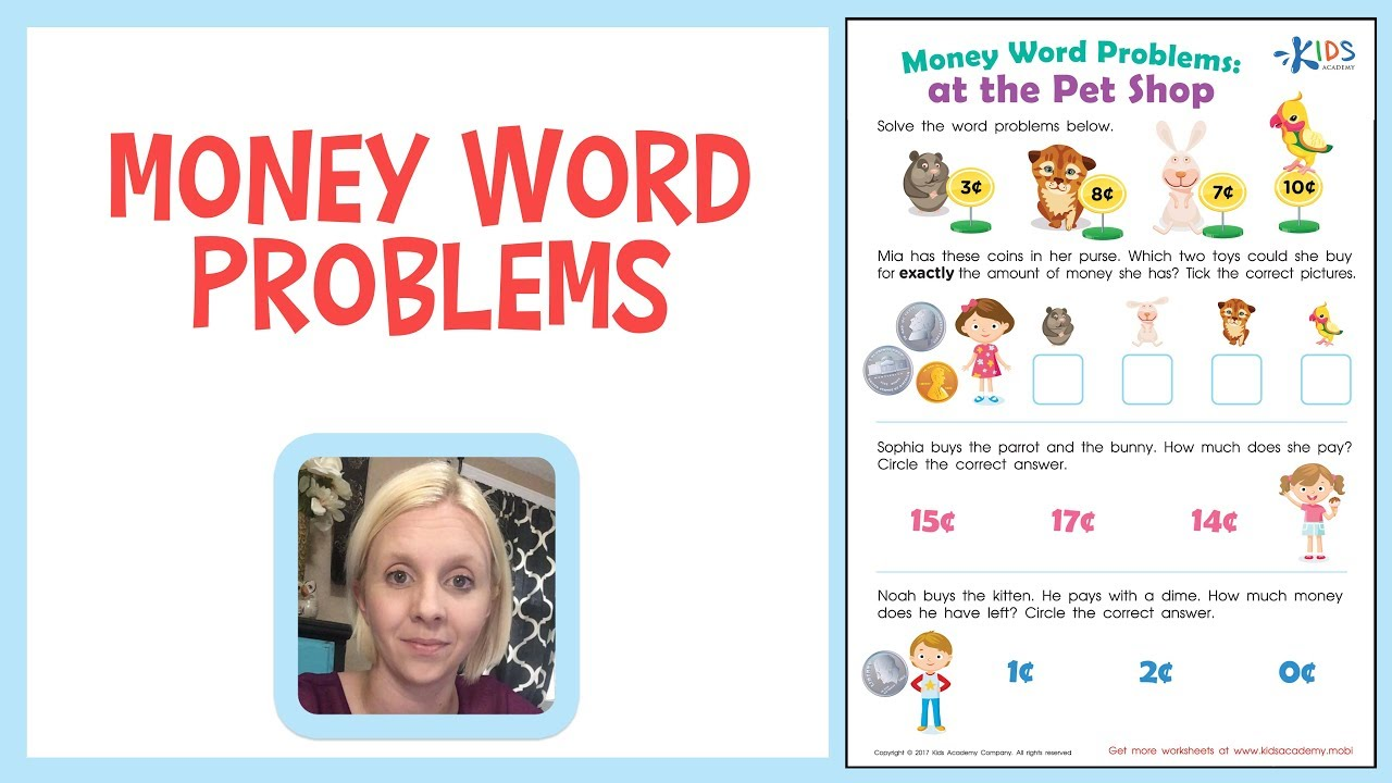 small resolution of Money Counting for Kids   Money Word Problems for 1st Grade - YouTube