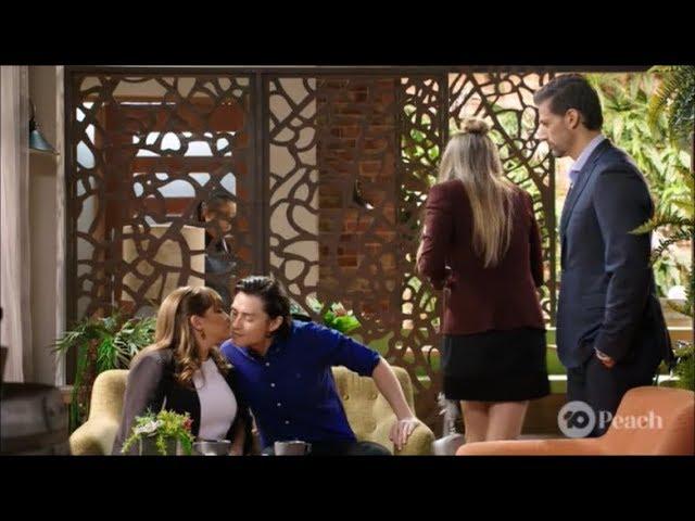 Leo, Terese, Chloe, Pierce & Leo and Terese kiss on the check scene ep 7970