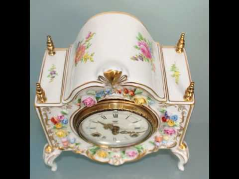 PHOTOSHOOT HERMLE DRESDEN Porcelain Mantel TOP Clock CHIME German Mid Century Vintage China