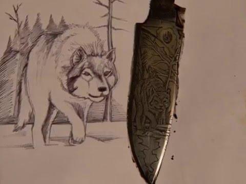 травление волка на ноже из р6м5