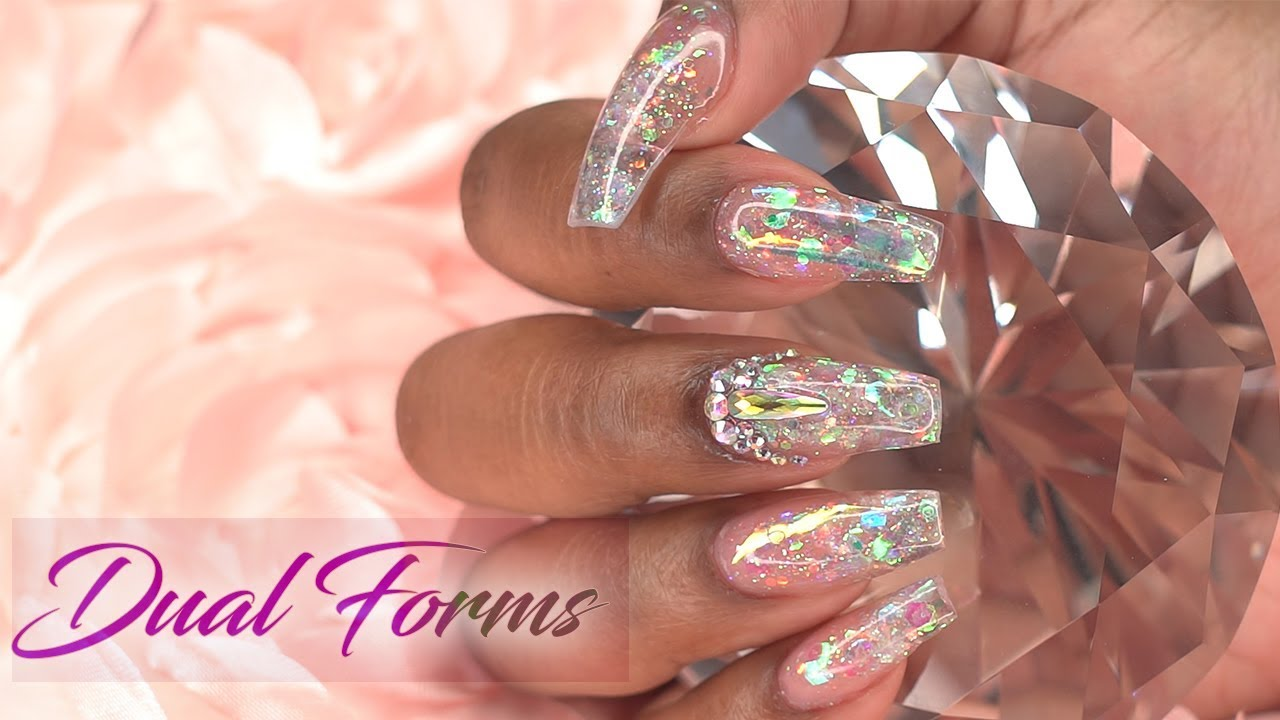 Dual Forms with Acrylic | Shimmery Crystal Glass Nails ...