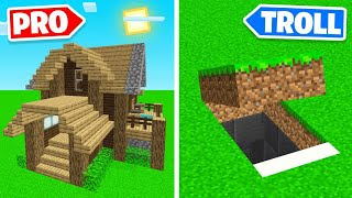 PRO BUILDER vs TROLL BUILDER In Minecraft! (hilarious)