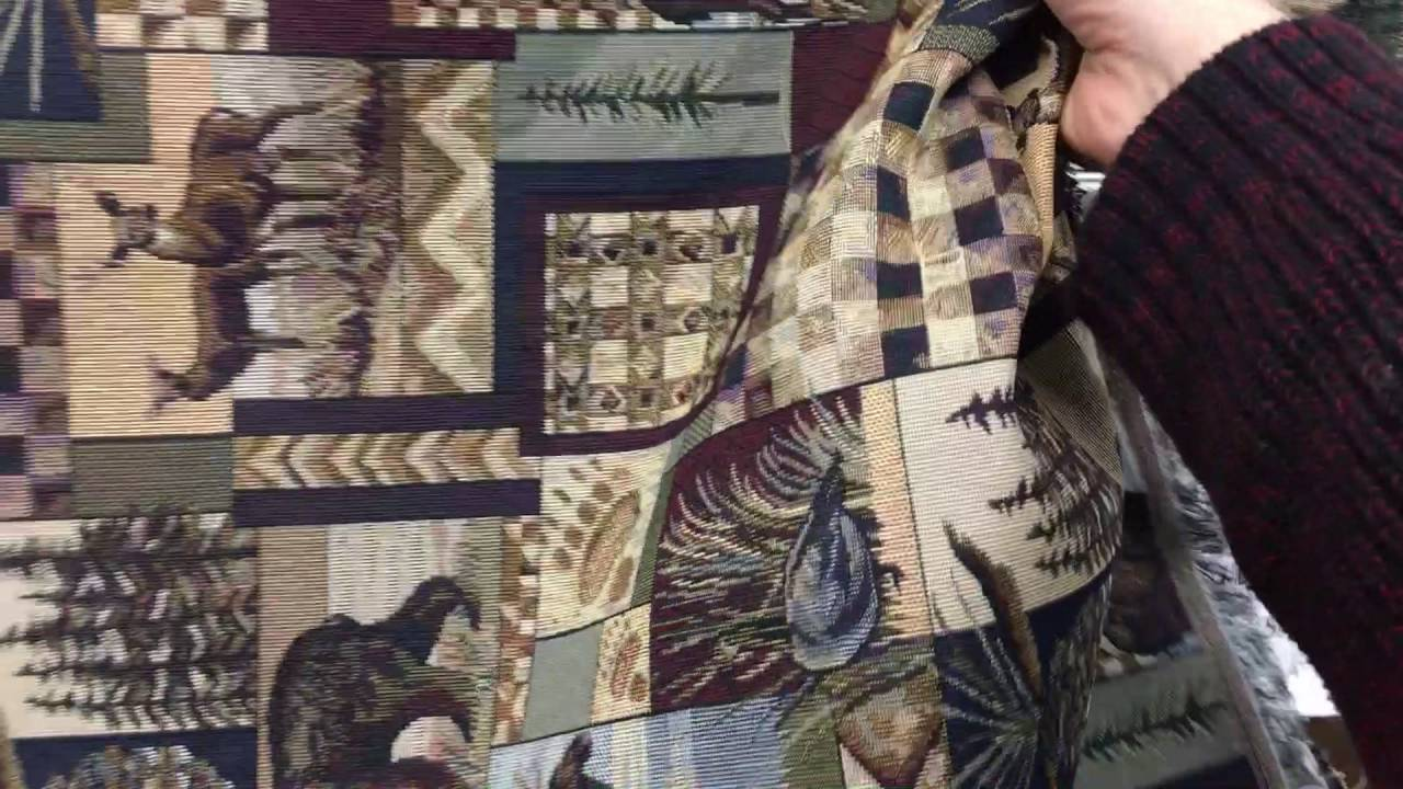 Peter S Cabin Rustic Upholstery Fabric In Stone Moose Bear Deer