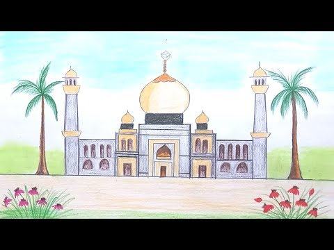 How to draw scenery of Mosque step by step