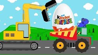 Surprise Dump Truck, Excavator and maybe Dinosaur | Kids Video | Pojazdy z Jajka Niespodzianki