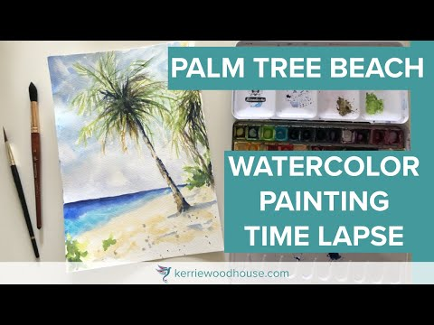 PALM TREE BEACH WATERCOLOR PAINTING TIME LAPSE  – keeping it loose