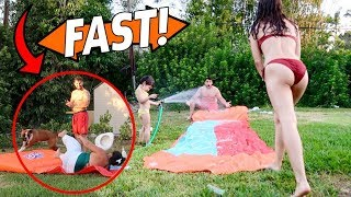 HILARIOUS CRAZY FAMILY SLIP AND SLIDE!!!