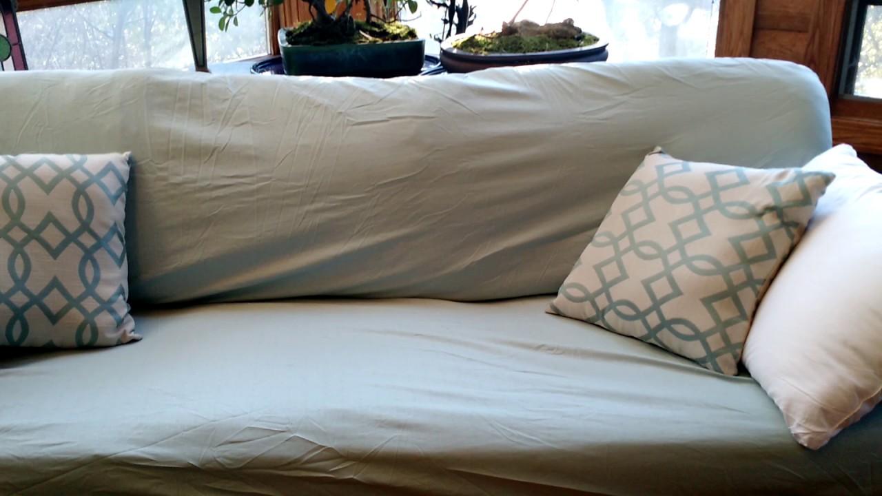 Diy Sofa Slipcover Using Sheets | Brokeasshome.com
