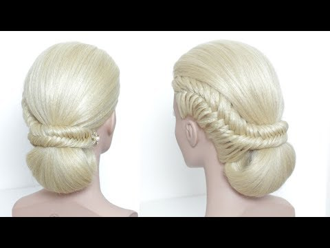 Fishtail Braid Updo Hairstyles Tutorial