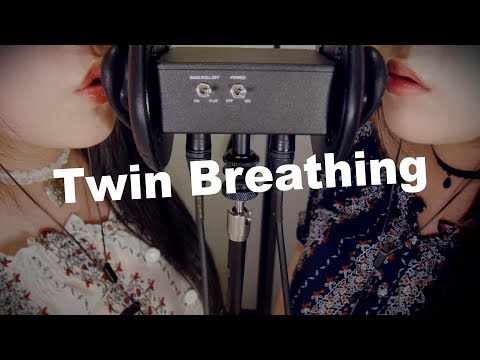 ASMR Twin Breathing & Ear Blowing With Inhaling 😂