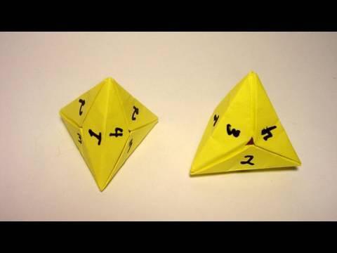 Origami 4 Sided Dice (tetrahedron) - YouTube