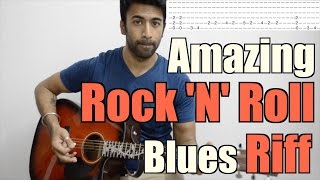 Amazing Rock 'N' Roll Blues Riff - Acoustic Guitar Lesson (With Backing track)