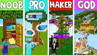 Minecraft NOOB Vs PRO Vs HACKER Vs GOD SECRET HOUSE ON TREE In MINECRAFT Animation